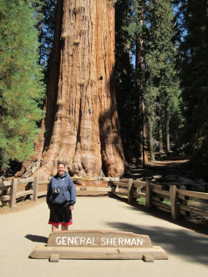 Erika Trailer-Perkins at the General Sherman Sequoia Tree