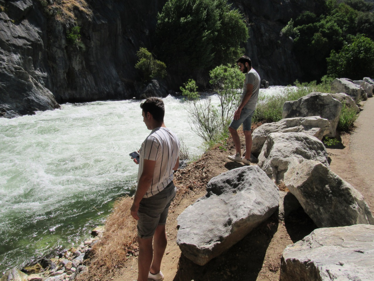 Oktay and Ahmet at the Kings River near Boyden Caves